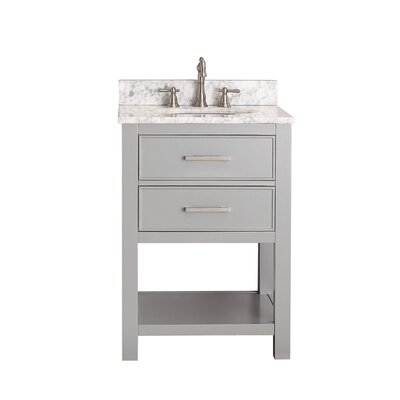 Martina 25 Single Bathroom Vanity Set Base Finish: Chilled Gray, Top Finish: Carrera White Marble