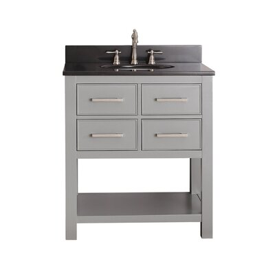 Martina 31 Single Bathroom Vanity Set Base Finish: Chilled Gray, Top Finish: Black Granite