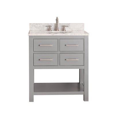 Martina 31 Single Bathroom Vanity Set Base Finish: Chilled Gray, Top Finish: Carrera White Marble