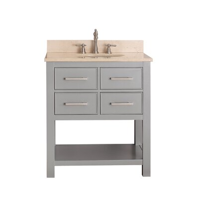 Cortland 31 Single Bathroom Vanity Set Base Finish: Chilled Gray, Top Finish: Galala Beige Marble