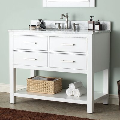 Cortland 43 Single Bathroom Vanity Set Base Finish: White, Top Finish: Carrera White Marble