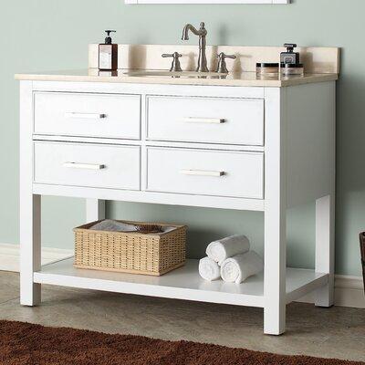 Cortland 43 Single Bathroom Vanity Set Base Finish: White, Top Finish: Galala Beige Marble