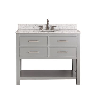 Martina 43 Single Bathroom Vanity Set Base Finish: Chilled Gray, Top Finish: Carrera White Marble