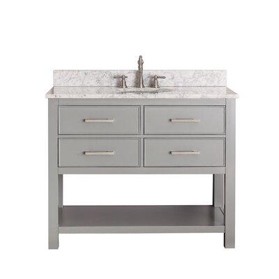 Martina 43 Single Bathroom Vanity Set Base Finish: Chilled Gray, Top Finish: Carrera White Marble