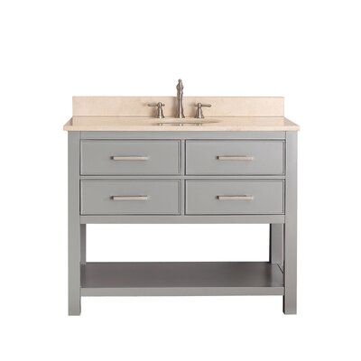 Martina 43 Single Bathroom Vanity Set Base Finish: Chilled Gray, Top Finish: Galala Beige Marble