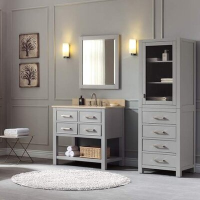 Cortland 37 Single Modern Bathroom Vanity Set Base Finish: Chilled Gray, Top Finish: Galala Beige