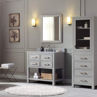 Martina 37 Single Modern Bathroom Vanity Set Base Finish: Chilled Gray, Top Finish: Carrera White