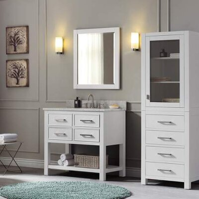 Cortland 37 Single Modern Bathroom Vanity Set Top Finish: Carrera White, Base Finish: White