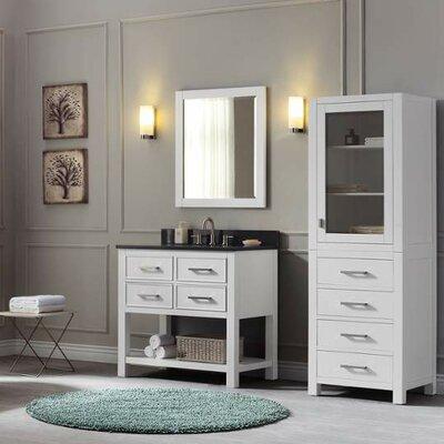 Martina 37 Single Modern Bathroom Vanity Set Base Finish: White, Top Finish: Black Granite