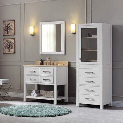 Cortland 37 Single Modern Bathroom Vanity Set Top Finish: Galala Beige, Base Finish: White