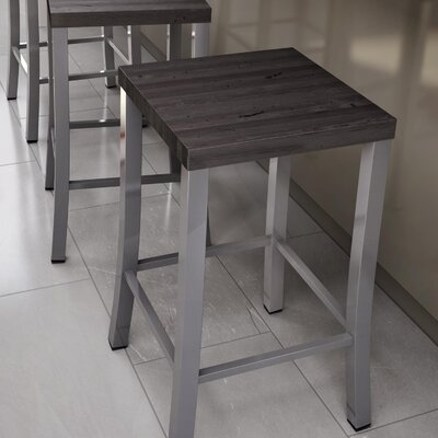 Athanas 24 Bar Stool Color: Glossy Grey/Medium Dark Gray