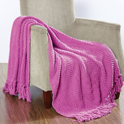 Darr Knitted Tweed Throw Blanket Color: Rose Bud