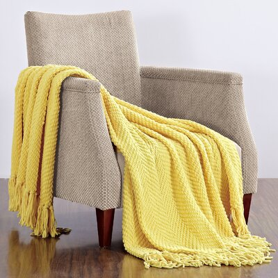 Darr Knitted Tweed Throw Blanket Color: Sunshine Yellow
