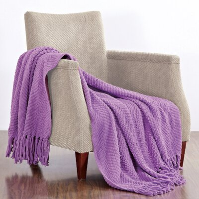 Darr Knitted Tweed Throw Blanket Color: Violet