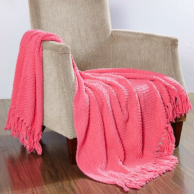Darr Knitted Tweed Throw Blanket Color: Camellia Rose