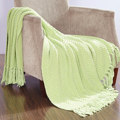 Darr Knitted Tweed Throw Blanket Color: Lettuce Green