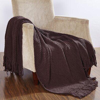Darr Knitted Tweed Throw Blanket Color: Seal Brown