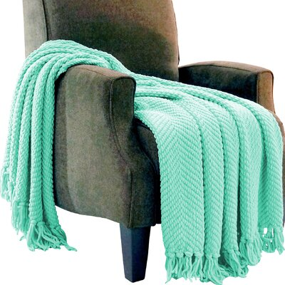 Darr Knitted Tweed Throw Blanket Color: Bay