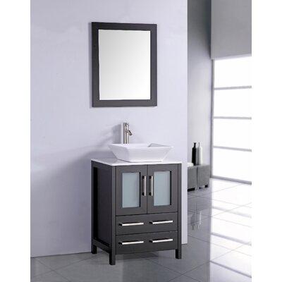 Danko 24 Single Bathroom Vanity Set with Mirror Base Finish: Espresso