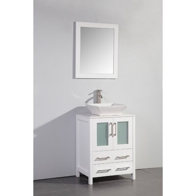 Danko 24 Single Bathroom Vanity Set with Mirror Base Finish: White