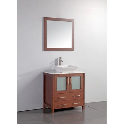 Kogan 24 Single Bathroom Vanity Set with Mirror Base Finish: Cherry