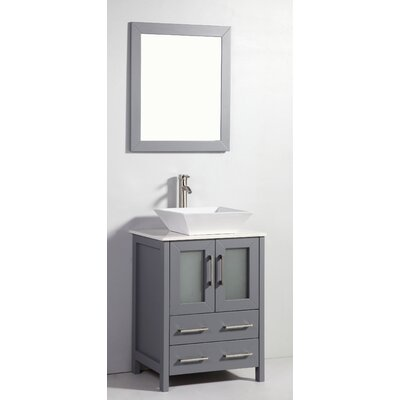 Danko 24 Single Bathroom Vanity Set with Mirror Base Finish: Dark Grey