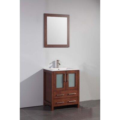 Danley 24 Single Bathroom Vanity Set with Mirror Base Finish: Cherry