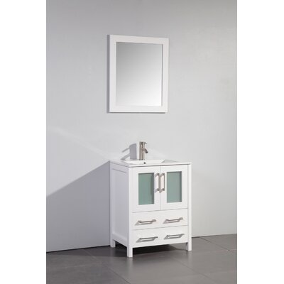 Danley 24 Single Bathroom Vanity Set with Mirror Base Finish: White