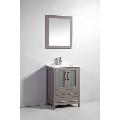 Danley 24 Single Bathroom Vanity Set with Mirror Base Finish: Light Gray
