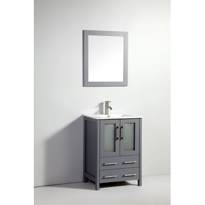 Lezlie 24 Single Bathroom Vanity Set with Mirror Base Finish: Dark Gray