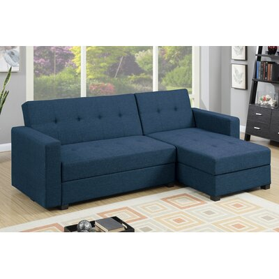 Danos Reversible Chaise Sectional Upholstery: Navy