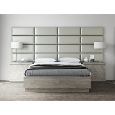 Bernardsville Upholstered Headboard Panels Size: 46 H x 30 W x 2.5 D, Upholstery: Metallic Champagne