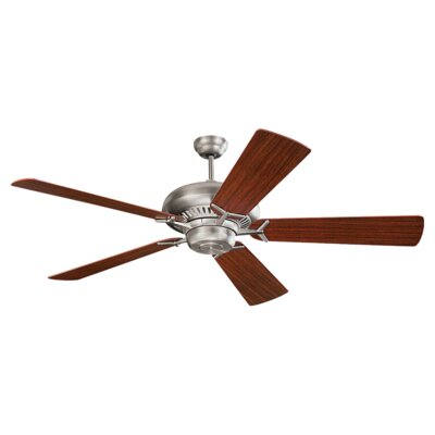 60 Desouza 5 Blade Ceiling Fan Finish: Brushed Steel with Mahogany Blades