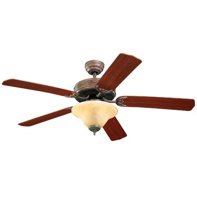 52 Beaton Modern 5 Blade Ceiling Fan with Light Kit Color: Tuscan Bronze with Mahogany Blades, Glass Type: Tea Stain Mission Glass