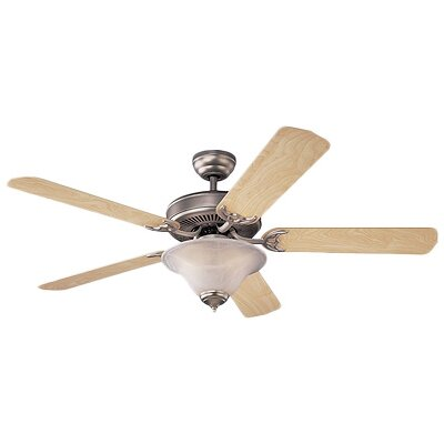 52 Beaton Modern 5 Blade Ceiling Fan with Light Kit Color: Roman Bronze with Teak Blades, Glass Type: White Faux Alabaster Glass