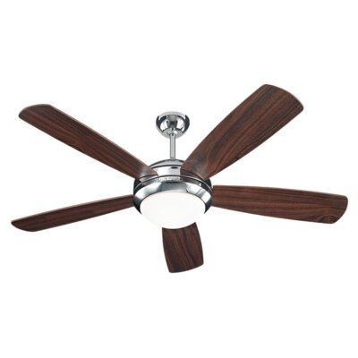 Desouza 52 5 Blade Ceiling Fan Finish: Polished Nickel