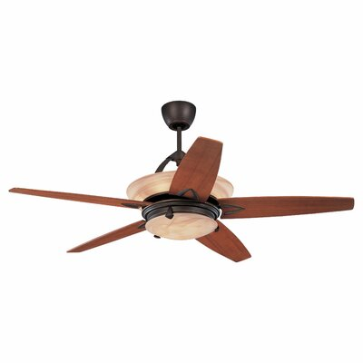 60 Beatrix 5 Blade LED Ceiling Fan with Remote Color: Roman Bronze
