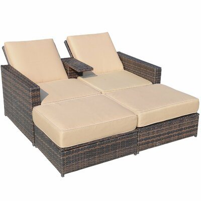 Haddox Double Chaise Lounge with Cushion