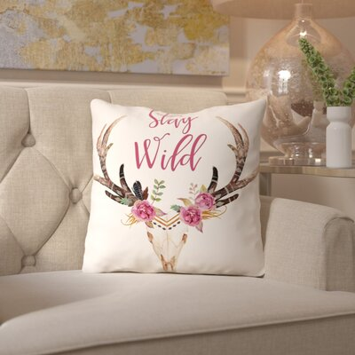 Stay Wild Skull C Throw Pillow Size: 20 H x 20 W x 2 D, Color: Cream