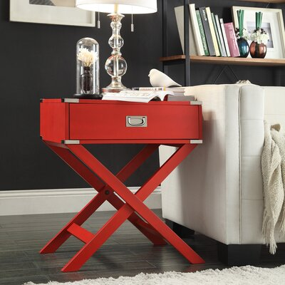 Marotta 1 Drawer End Table Color: Red