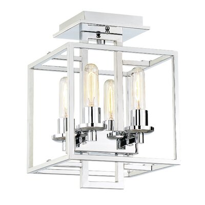 Borkowski 4-Light Semi-Flush Mount Finish: Chrome