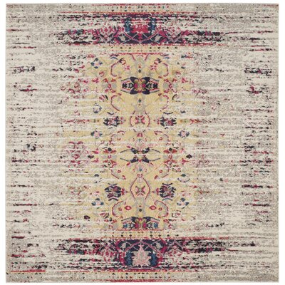 Amico Ivory / Pink Area Rug Rug Size: Square 6'7