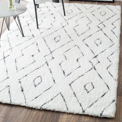 Peraza Hand-Tufted White Area Rug Rug Size: Rectangle 5 x 8