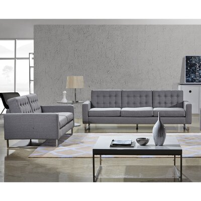 Bosch 2 Piece Living Room Set Upholstery: Gray