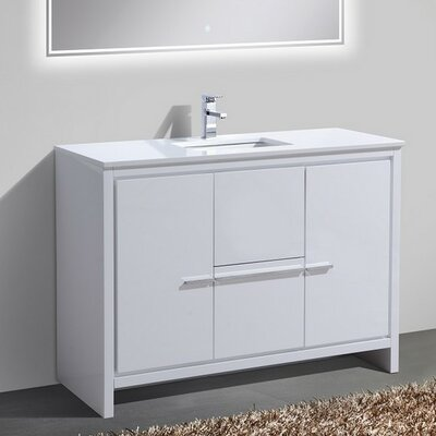 Bosley 48 Single Sink Modern Bathroom Vanity Finish: High Gloss White