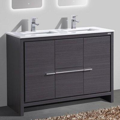 Bosley 48 Double Sink Modern Bathroom Vanity Finish: Gray Oak