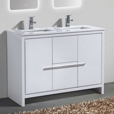 Bosley 48 Double Sink Modern Bathroom Vanity Finish: High Gloss White