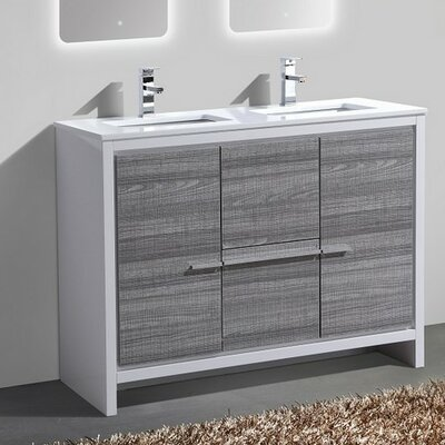 Bosley 48 Double Sink Modern Bathroom Vanity Finish: Ash Gray