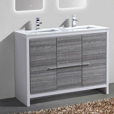 Bosley 48 Double Sink Modern Bathroom Vanity Finish: Ash Gray