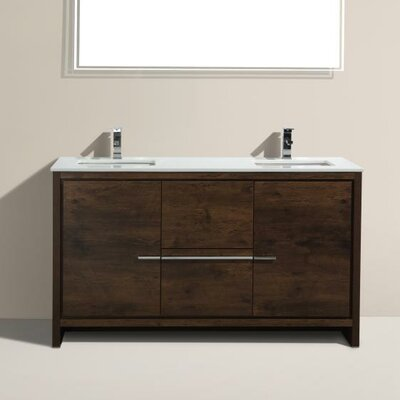 Bosley 60 Double Sink Modern Bathroom Vanity Base Finish: Rose
